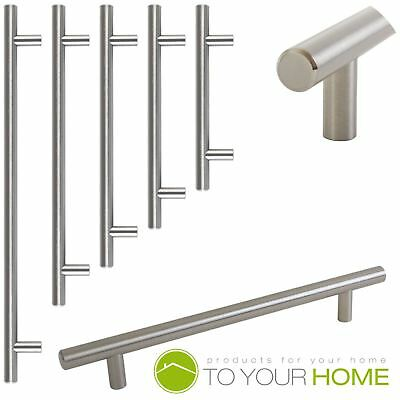T Bar Satin Kitchen Cupboard Cabinet Drawer Door Handles 5 Sizes Available