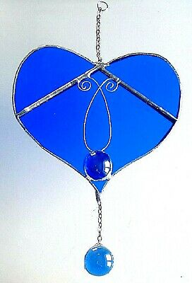 Blue love Heart stained glass suncatcher wedding valentines Mothers day gift