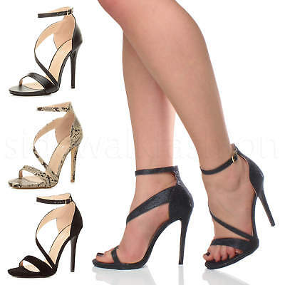 Womens ladies cross strap party asymmetric high heel evening sandals shoes size