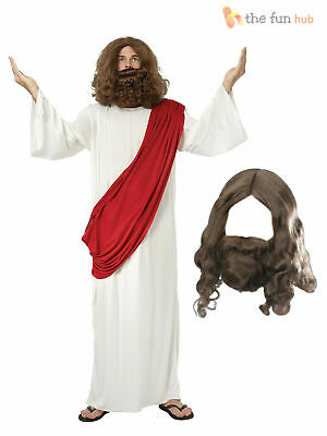 Jesus + Wig + Beard Religious Mens Fancy Dress Christmas Adult Easter Costume