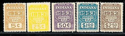 DR JIM STAMPS OLD US INDIANA STATE REVENUE INTANGIBLE TAX LOT 1953 NO RESERVE