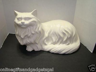 LARGE CERAMIC PERSIAN CAT 1980 SIGNED/ VINTAGE