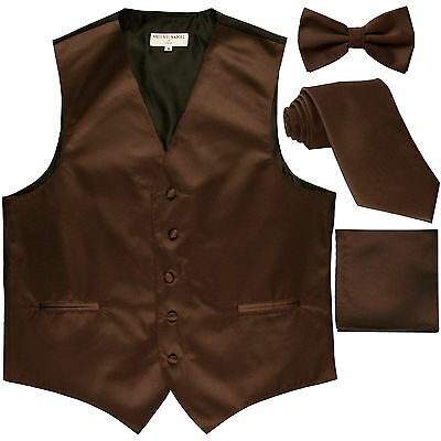 New Men's solid Tuxedo Vest Waistcoat & necktie & Bow tie & Hankie brown wedding