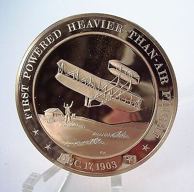 +1903 First Powered Flight at Kitty Hawk : Wright Brothers - Solid Bronze Medal