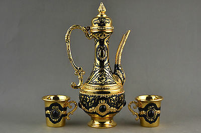 Old Collectible Decoration Cloisonne Carving Charming Flowers Wine Pot & cups