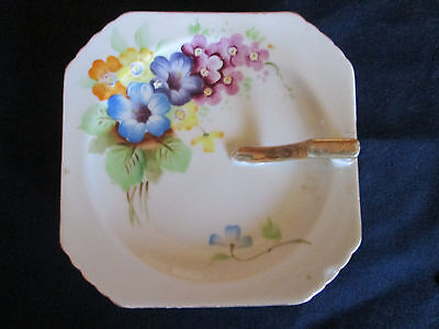 Vintage Saucer with Handle Made in Occupied Japan Hand Painted Flowers