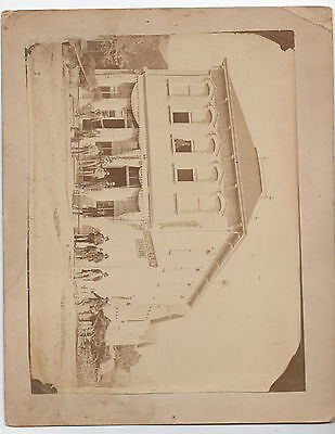 Large 1880s Photo of Building with Grey & Bro John Deere Plow Sign Outside