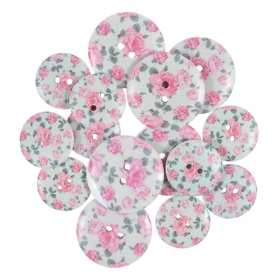 15 x Assorted Sizes Grey Vintage Rose Wooden Crafts Buttons Sewing Needlecrafts