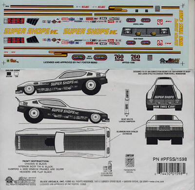 Pat Foster Super Shops Plymouth FC NHRA Decals 1598