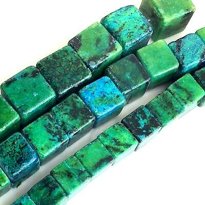 "*Green/Blue Natural Chrysocolla Cube Spacer Loose Beads 15"" 8mm 10mm 12mm 14mm"