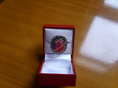 Embroiderd Palestinian Cross stitch Handmade Beduin Tribal style ring ,metal, ,