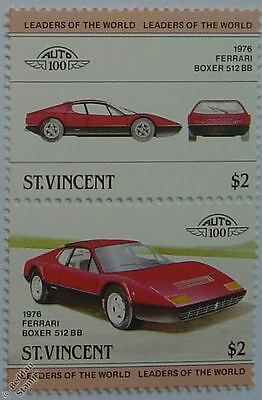 1976 FERRARI BOXER 512BB Car Stamps (Leaders of the World / Auto 100)