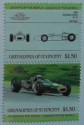 1966 BRABHAM REPCO BT-19 Car Stamps (Leaders of the World / Auto 100)