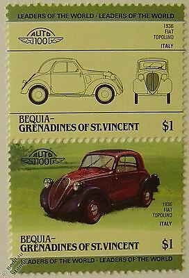 1936 FIAT TOPOLINO Car Stamps (Leaders of the World / Auto 100)