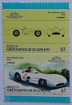 1954 MERCEDES BENZ W196 Car Stamps (Leaders of the World / Auto 100)