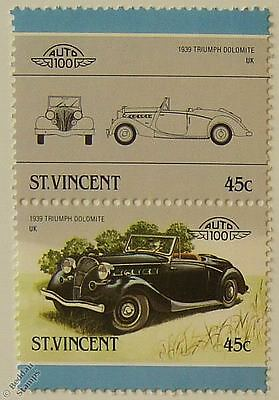 1939 TRIUMPH DOLOMITE Car Stamps (Leaders of the World / Auto 100)