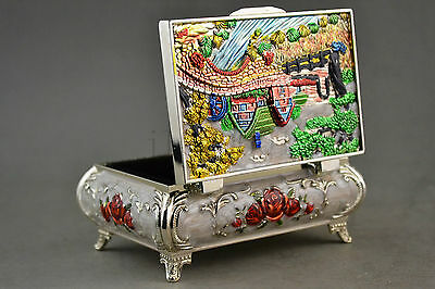 Old Collectible Decoration Miao Silver & Cloisonne Carving Village Usable Jewel