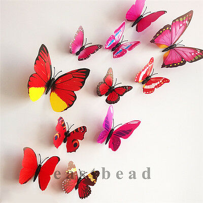 Living 12pcs 3D Butterfly Wall Stickers Home Room Decoration Art DIY Decal Red