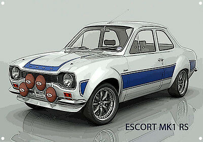 Classic British Ford Mk1 Escort Rs Metal Sign