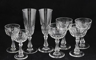 8 antique crystal Glasses - 2 champagne flutes & wine, port, desert wine glass
