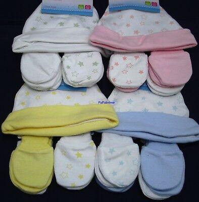 Baby Hat and 2 Pairs Scratch Mittens 100% Cotton Newborn Boy Girl Mitts Reborn