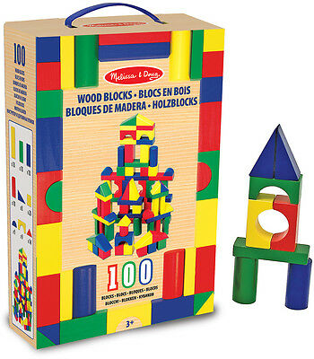 Melissa & Doug 100 WOODEN BUILDING BLOCK SET Toy/Gift Baby/Toddler/Child Gift BN