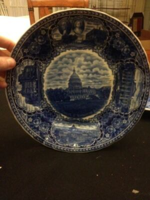 "Antique 9"" Historic Series #8 Flow Blue Transfer Plate Staffordshire"