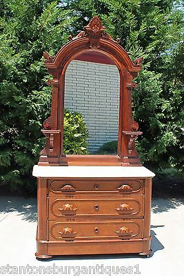 Renaissance Revival Victorian Walnut Marble Top Dresser w Hidden Drawer c1875