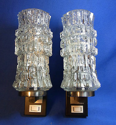 Pair Mid Century German Glass Wall Lamps Mirror Sconces #O/G