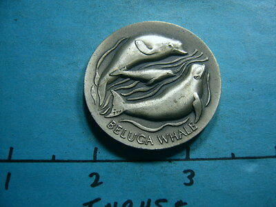 Beluga Whale Only White Sea Mammal Vintage High Relief Silver Coin Rare U5