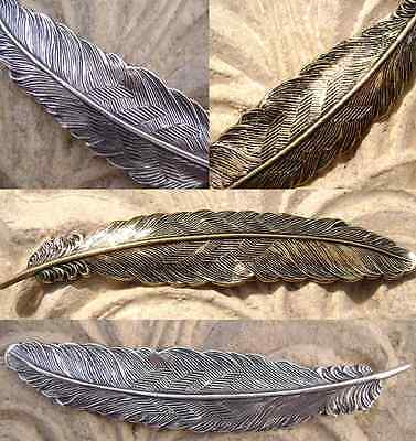 2174 Antiqued Brass Sterling Silver Large Feather Component Pendant  Centerpiece
