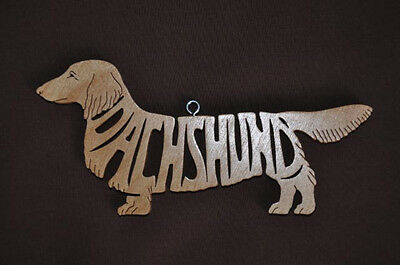 Long Haired or Wire Haired  Dachshund Wood Toy Dog Christmas Ornament  Gift Tag