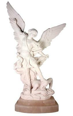 """Saint Michael the Archangel 13"""" Carved Italian Alabaster Statue with Marble Base"""