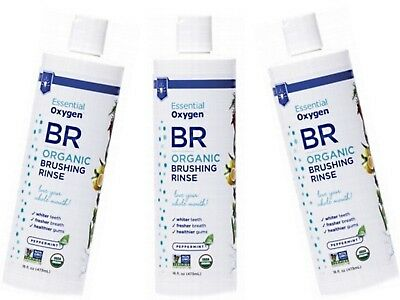 3 x 473ml ESSENTIAL OXYGEN Brushing Rinse ( Toothpaste + Mouthwash /Peppermint )
