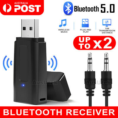 5.0 Bluetooth Audio USB Receiver Adaptor Wireless Music 3.5mm Dongle AUX CAR