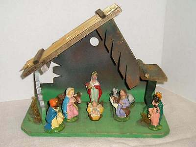 Vintage Christmas Nativity Scene Italy Baby Jesus Manger Animals~Wisemen Stable