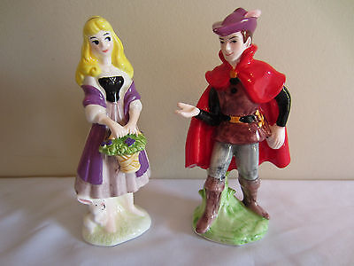 Vintage Sleeping Beauty Princess Aurora Prince Phillip Ceramic Figurines Japan