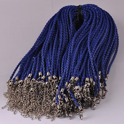 P1039 20pcs Brown Blue braided leather necklace cord 18inch