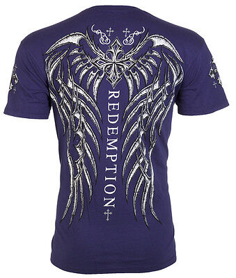 Archaic AFFLICTION Mens T-Shirt SPINE WINGS Tattoo NAVY Biker Gym MMA UFC $40