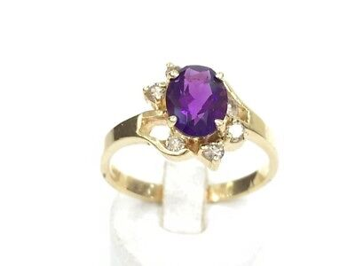 14k solid gold amethyst / diamond  ring ( Free Sizing )