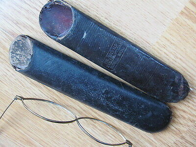 2 Antique Spectacle Eyeglass Cases Phil Seewald Jeweler & Optician Hudson Mich