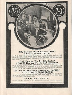 Fred Mace Marguerite Marsh 1913 Ad- A Devilish Doctor/New Majestic