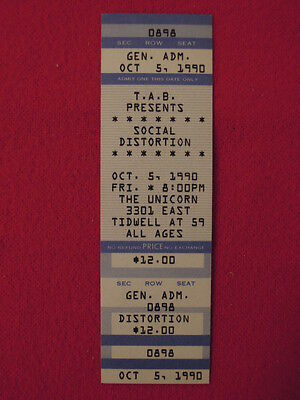 1990 Social Distortion Original Concert Ticket The Unicorn