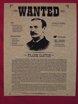 Frank Canton Wanted Poster REPRODUCTION