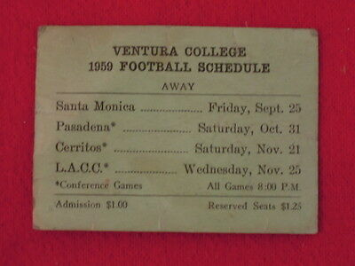 1959 Ventura College Double Sided Football Schedule