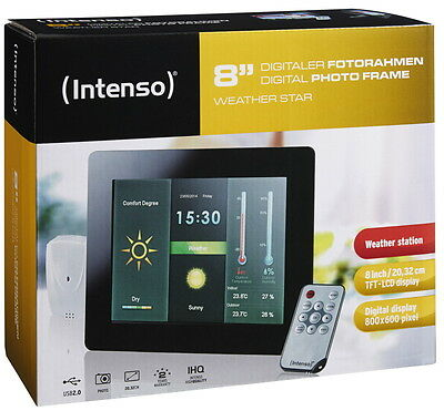 Intenso digitaler Bilderrahmen Photo Frame Weather Star Wetterstation 8 Zoll