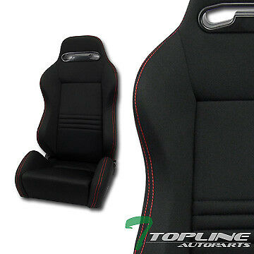 Tr Sport Black Cloth Red Stitches Reclinable Racing Bucket Seats+Slider Pair T12