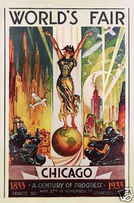 Chicago World's Fair deco 1933 art poster print SKU1035