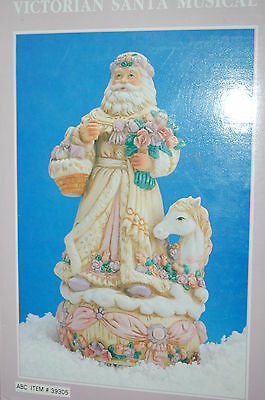 Gorgeous Victorian SANTA CLAUS  MUSICAL Father Christmas Ceramic Wind Up MIB