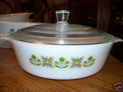 Fire King Anchor Hocking Meadow Green Casserole Dish 1.5 Qt Baking Vintage 50'S